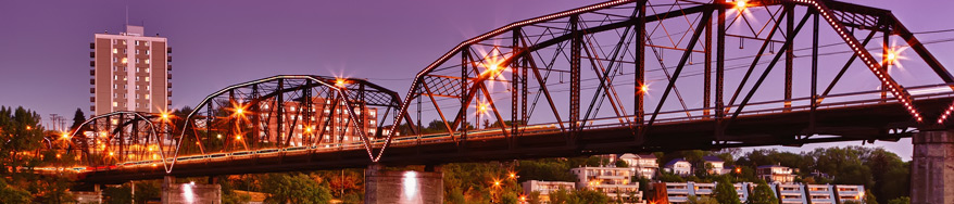Bridge in Saskatoon, Saskatchewan at dusk